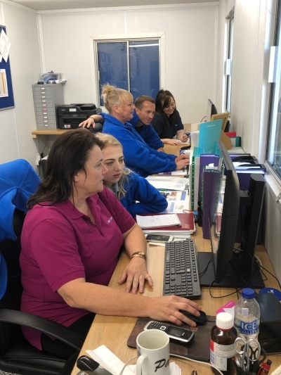 Our Coast Home Care Team busy in their new office based at Whitebeach Residential Care Home, St Leonards, East Sussex. Coast Home Care cover the area of Bexhill on Sea, St Leonards on Sea, Battle and Hastings