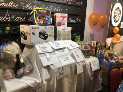 Fantiastic raffle prizes at the Coast Home Care St Leonards on Sea, Hastings, East Sussex, Charity Quiz night, raising money for Alzheimers Research UK.