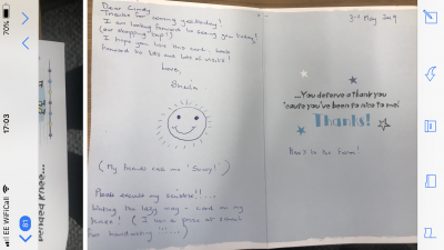 Sheila one of our lovely Coast Home Care Clients, based in St Leonards on Sea, Hastings, Sussex. Specialist dementia care. A letter from Sheila.