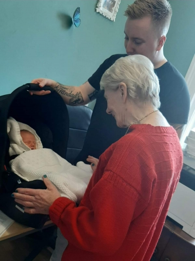 Coast Care's new baby comes to visit. St Leonards on Sea, Hastings, Sussex