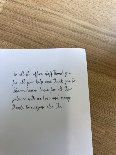 A lovely thank you to the team at Coast Home Care Bexhill, St Leonards, East Sussex