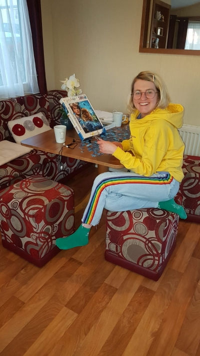 Fun times for a services user on a mini break to Combe Haven Holiday Park in the Coast Care Homes Holiday Home.